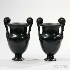 Pair of Wedgwood Black Basalt Volute Krater Urns European Furniture, Wedgwood, Art Decor, Auction, Pairs, Ceramics, 19th Century, Collection, Black