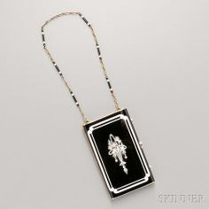 Art Deco Gold, Black and White Enamel, and Diamond Compact