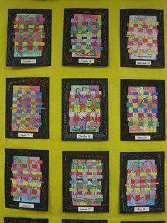 Weaving over a painted background. Zilker Elementary Art Class