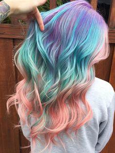 Purple+Teal+And+Pink+Balayage+Hair