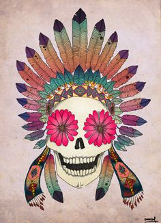 Calavera con flores y plumas. Skull with flower and feathers. Si te interesa la ilustración podes escribirme a sol.dlvega@gmail.com.  If you like the illustration, please send me an email sol.dlvega@gmail.com