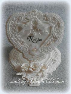 Jolanda's Crea-Blogg: Kusjes . . . Love Valentines, Valentine Heart, Marianne Design Cards, Wedding Cards Handmade, Handmade Cards, Wedding Anniversary Cards, Cardmaking, Wedding Invitations, Shabby Chic