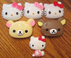 This is a listing for (1) YOU choose Cabochon Id Badge Reel Holder to be handmade by me, EvezBeadz.  You may choose from Hello Kitty Pink, Red or Light Pink Bow Rilakkuma Creme or Brown or Sitting Hel