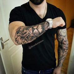 Tattoos sleeve, sleeve tattoos for men, tattoos for guys, animal tattoo Tigergesicht Tattoo, Tattoo Calf, Lion Forearm Tattoos, Tiger Tattoo, Body Art Tattoos, Small Tattoos, Cool Tattoos, Awesome Tattoos, Tatoos