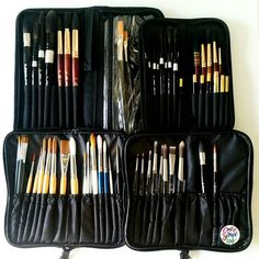 By calligrafikas: So some of you were asking where do I store my brushes and what brushes do I have. I use mostly brush cases with zippers as you can see in the picture.  I got the from different places local stores local online stores Dick Blick Amazon etc but others were gifts from loved ones so please don't ask every retail information about them coz I probably forgotten already or don't know.  For the brushes I have: Silver Brush Black Velvet Escoda Reserva Escoda Alvaro Casagnet set…