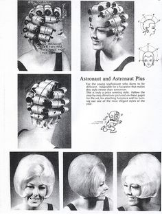 Vintage Hairstyles The Hair Hall of Fame: Blast Off with Mr. Permed Hairstyles, Retro Hairstyles, Updo Hairstyle, Wedding Hairstyles, Vintage Hairstyles Tutorial, 1960s Hair, Roller Set, Hair Roller, Hair Setting