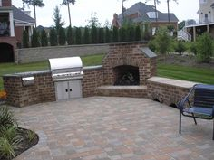 Stone patio, built in grill