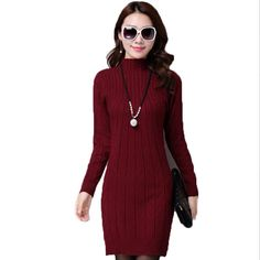 2017 Autumn Winter Women Sweater Dresses Long Knitted Wool Dress Female Turtleneck Mini Slim Dress Woman Pullovers Clothing