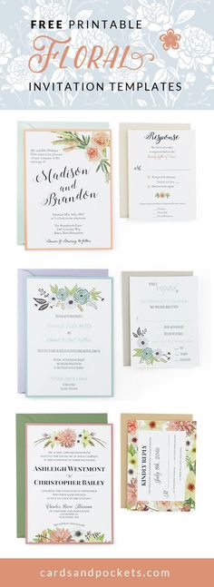 Free wedding invitation templates |  Customize and download these floral designs to create your own unique and cheap wedding invitations | http://www.cardsandpockets.com/freeweddinginvitationtemplates.aspx