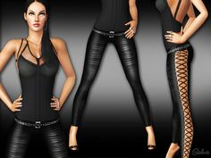 Black Diva leather pants with belt by Saliwa - Sims 3 Downloads CC Caboodle