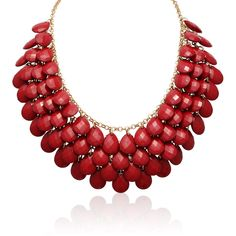 Gold Overlay Red Ruby Crystal Statement Necklace ($17) ❤ liked on Polyvore featuring jewelry, necklaces, yellow, statement necklaces, gold bib necklace, crystal necklace, red statement necklace and long necklaces