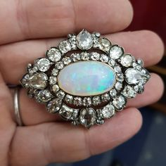 Rare (and huge!) antique harlequin opal and diamond brooch with 18th century diamonds #brooches #antiquesireland #antiquejewellery #vintage #opal #diamond #cushioncut #harlequin #jewellery via: #probeatz