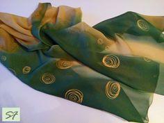 Dark Green Brown Silk Scarf Hand Painted, Chiffon scarf, Spring light scarf, Gift Wife Mom Girlfriend, Batik, Holiday Gift by SilkFantazi on Etsy