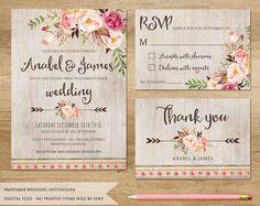 Floral Wedding Invitation. Printable Wedding Invitation. Rustic Invitation. Boho Wedding Invitation. Bohemia Wedding. Country Wedding Invite