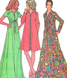 8676 Vintage Simplicity Sewing Pattern Misses Pullover Dress Belt OOP SEW 1970/'s