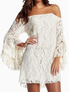 Women's Hollow Lace Flared Sleeve Tube Dress on buytrends.com