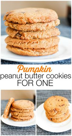 Easy Pumpkin Peanut Butter Cookies FOR ONE! This single serve cookie recipe is very low in sugar, high in protein and completely gluten free! the best bit? You can enjoy the WHOLE batch! {gluten free, vegan, low sugar}