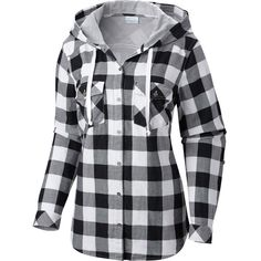 Columbia Times Two Hooded Shirt - Long-Sleeve ($44) ❤ liked on Polyvore featuring tops, hoodies, jackets, shirts, long sleeve button up shirts, plaid button down shirt, long button down shirt, long flannel shirts and flannel shirt