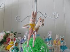 Bunny Easter Ornament Rabbit Hobby Horse Spun by ornamentsbypink, $32.00