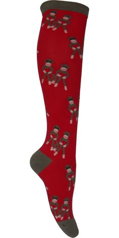 Product Details Adorable sock monkeys scattered around the leg of these red knee highs with a brown heel, toe and cuff. For: Women Sizing Information: Shoe Size: Women's 5-10 Style: Knee High Primary