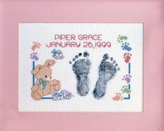 Baby Footprints Cross Stitch Baby Announcement