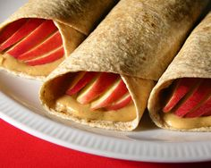 Apple & Peanut Butter Wraps - This delicious recipe is sure to please even the pickiest eater. Not only is it easy to make, but also a great filling snack for the kids.