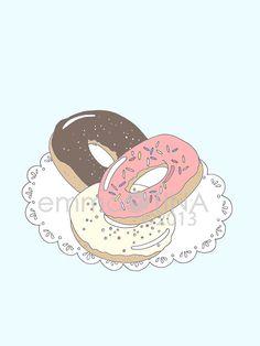 Doughnuts Decorative Foodie Illustration Art Print by emmakisstina