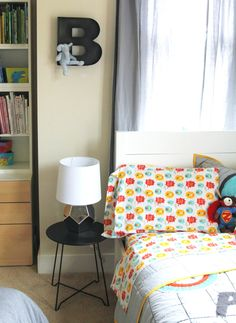 How fun is this @The Land of Nod Superhero Bedding in this #bigboyroom?! {Design Reveal of @Jessica Shyba's boys' room}