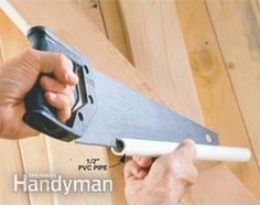 Slit a section of PVC pipe   to protect saw blades