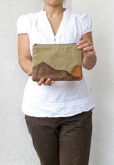 Leather Mountains  OOAK appliquéd Clutch purse by HelloVioleta, $32.00