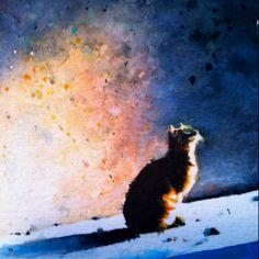 Watercolor cat art by Alex Carter.