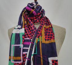 Scarf, Cotton Women Scarf, Black and Red Scarf, Gauze Scarf, Geometric Pattern - SC016 #handmadeatamazon #nazodesign