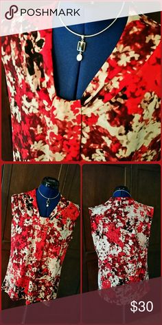 NWOT~Dressy Sleeveless Blouse Beautiful abstract floral print sleeveless blouse. New without tag. Dana Buchman Tops Blouses