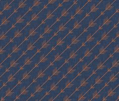Flying arrows in Navy and Orange fabric by willowlanetextiles on Spoonflower - custom fabric