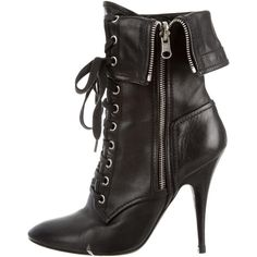 Balmain Round-Toe Ankle Boots ($395) ❤ liked on Polyvore featuring shoes, boots, ankle booties, black, black leather boots, short black boots, black leather bootie, leather lace up booties and black ankle booties