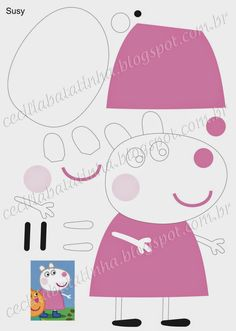 Susie - Peppa Pig e sua turma Molde Peppa Pig, Peppa Pig Imagenes, Patchwork Baby, Patchwork Patterns, Pig Crafts, Felt Crafts, Finger Puppet Patterns, Quiet Book Templates, George Pig