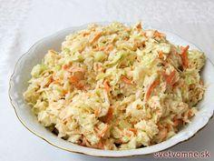 Obľúbený kapustový šalát s majonézou. Ponúkame veľmi chutný recept na jednu z jeho verzií. Podávame ako prílohu k pokrmom z mäsa. Ocenia ho všetci účastníci vašej domácej oslavy, kedy ho podávame k studeným obloženým misám. Mayonnaise, Slovak Recipes, Slaw Dressing, Vegetable Salad, Fried Rice, Potato Salad, Macaroni And Cheese, Cabbage, Mango