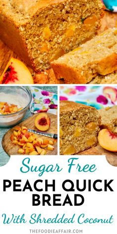 Fresh out of the oven! This peach bread is made with fresh diced peaches, whole wheat flour and shredded coconut flakes adding a delicious texture. Enjoy for breakfast or an afternoon snack! #lowcarb #healthyrecipe #bake