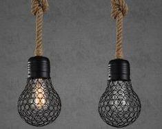Závesné lanové svietidlo s čiernou klietkou v tvare žiarovky, 15cm (2) Light Bulb, Lighting, Home Decor, Decoration Home, Room Decor, Light Globes, Lights, Home Interior Design, Lightning