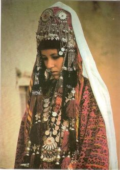 Postcard - Portrait of a woman from north Afghanistan, traditional wedding costume.