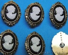 BIG VICTORIAN CAMEO FACE - Vintage Style Gold Novelty buttons used for many things