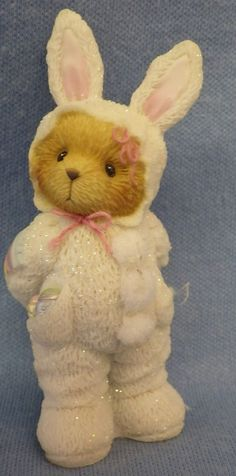 """Cherished Teddies Figurine Bear in Easter Bunny Suit 115543   3 1/4"""" Tall"""