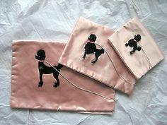 3 Piece Vintage Pink Poodle Decoration Lingerie Hankerchief Holder Bags Deco | eBay
