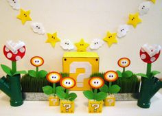 Felt and Cardstock Fire Flowers , Inspired by Super Mario (set of 6) FREE SHIPPING