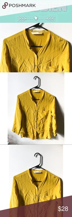 Zara Basic Chartreuse Silk Blouse This bold, silk blouse is in great, pre-owned condition with no identifiable defects! The tag lists this item as a size medium, but runs more like a small, bordering on extra small. Pair it with a pencil skirt for a chic workwear outfit, or wear it with jeans for a slouchy, casual look!✨  -Blouse: 100% mulberry silk Zara Tops Button Down Shirts