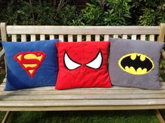 Marvel Superhero motifs on fleece pillow throw / by LittleQuests, $32.00 louis room