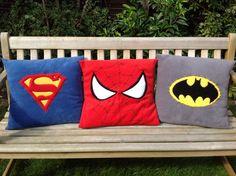 Marvel Superhero motifs on fleece pillow throw / cushion cover -