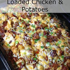 Loaded Chicken and Potatoes lb boneless chicken breasts, cubed (1″) 6-8 medium skin on red potatoes, cut in ½″ cubes ⅓ c olive oil 1½ tsp salt 1 tsp black pepper 1 Tbsp paprika 2 Tbsp garlic powder 2 Tbsp hot sauce (more if you like it HOT) Topping: 2 c fiesta blend cheese 1 c crumbled bacon 1 c diced green onion
