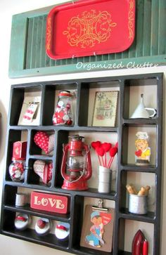 Vintage Valentine's Day Shadow Box Display www.organizedclutterqueen.blogspot.com