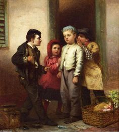 Sorry He Spoke, Oil On Canvas by John George Brown (1831-1913, England)